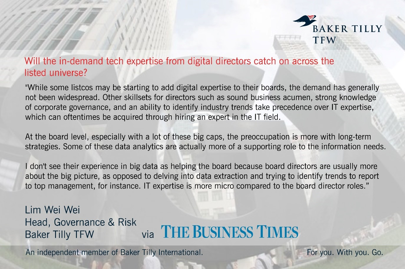 Baker Tilly TFW in The Business Times Cover Story Emerging demand for digital expertise on listed board_18 June 2018